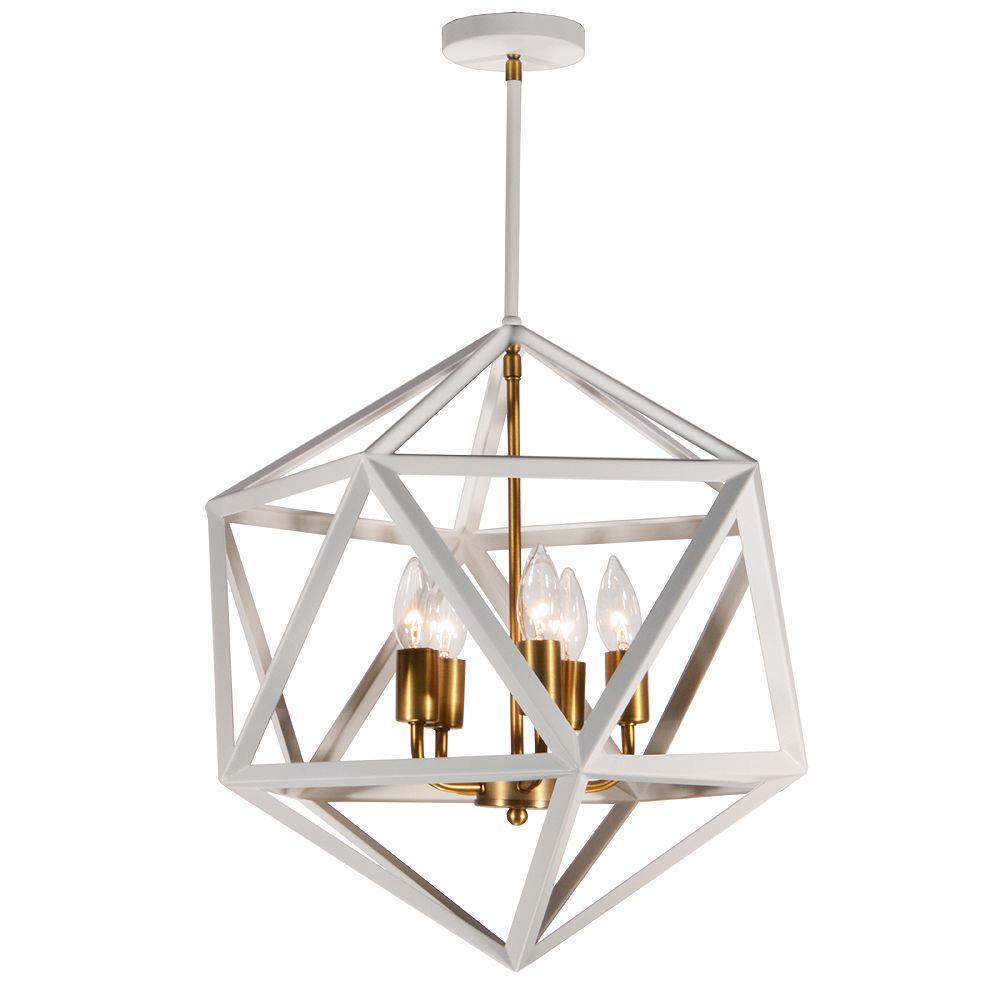 Dainolite Lustre 5 lumières, blanc mat avec accents de bronze vintage