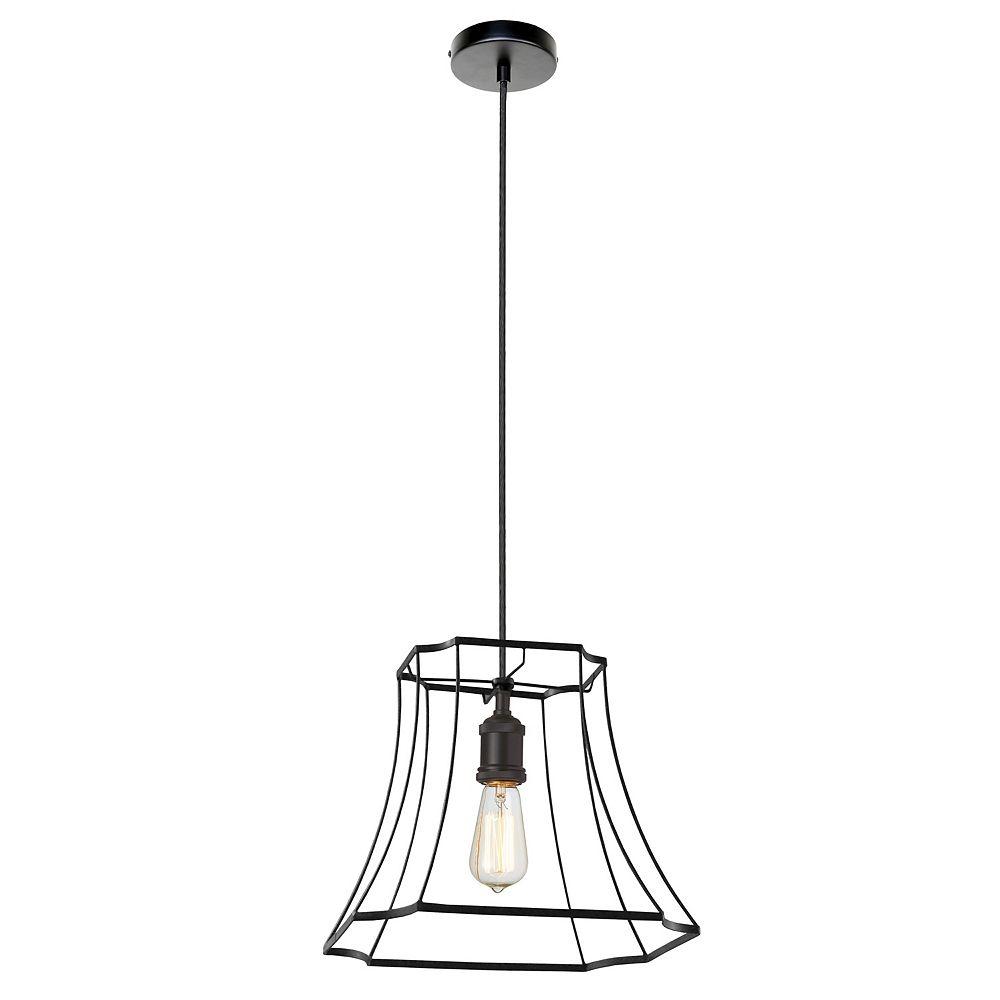 Dainolite 1 lumière pendentif   avec cadre en métal noir