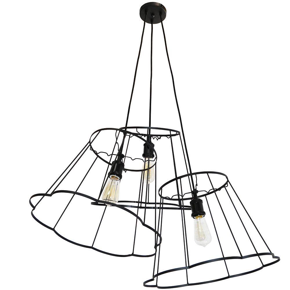 Dainolite Suspension multiple à 3 ampoules incandescentes avec cadre en métal noir
