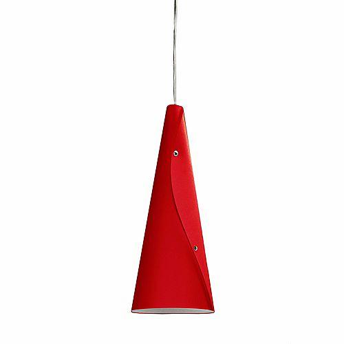 Luminaire suspendu à 1 ampoule Incandescent JTones Rouge et Chrome Poli