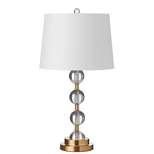 1 Light Incandescent Crystal Table Lamp Aged Bronze Finish with White Shade