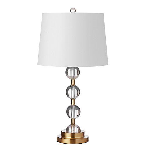 Lampe de table à 1 lumière à cristaux incandescents au fini bronze vieilli avec abat-jour blanc