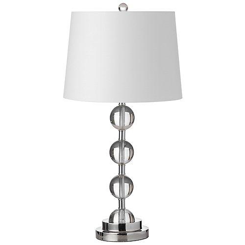 Lampe de table à 1 lumière à cristaux incandescents fini chrome poli avec abat-jour blanc