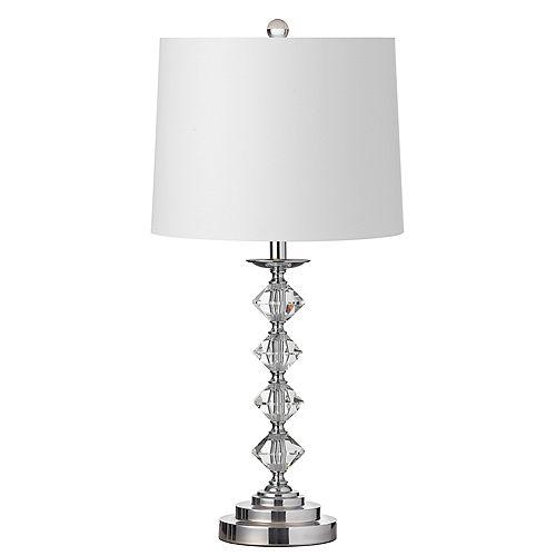 Lampe de table à 1 lumière à cristaux incandescents, fini chrome poli avec abat-jour blanc