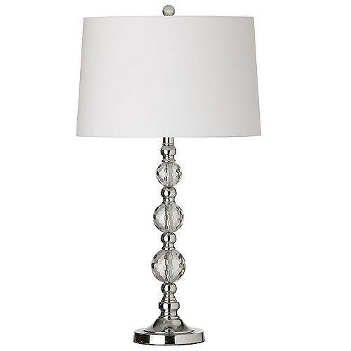 Lampe de table à 1 lumière en cristal, chrome poli,  abat-jour blanc