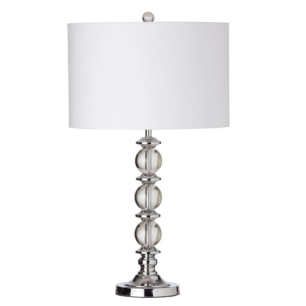 Dainolite Lampe de table à 1 lumière en cristal,  chrome poli, abat-jour blanc