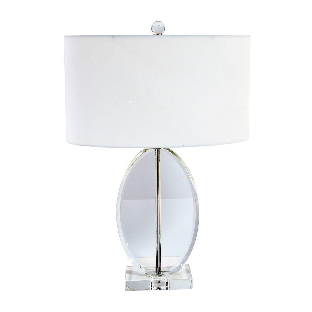 Dainolite Lampe de table à 1 lumière, fini chrome poli, abat-jour ovale blanc