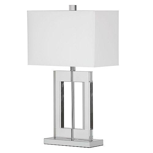 Dainolite 1 Light Crystal Table Lamp, Polished Chrome, White Shade
