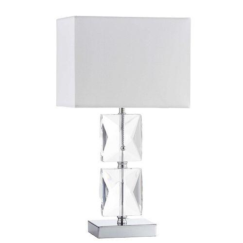 Lampe de table à 1 lumière à cristaux, chrome poli