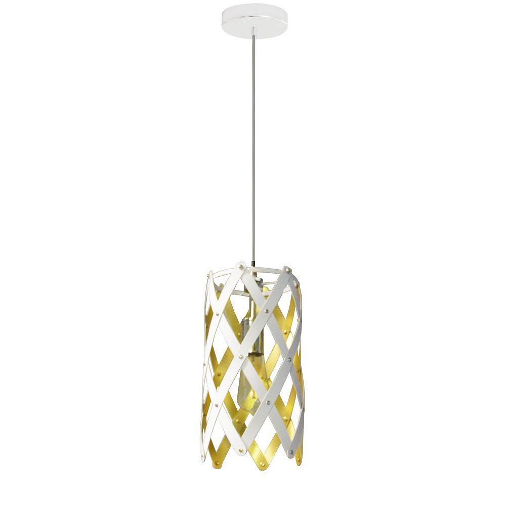 Dainolite Luminaire suspendu à 1 lumière,  fini blanc avec abat-jour blanc / doré