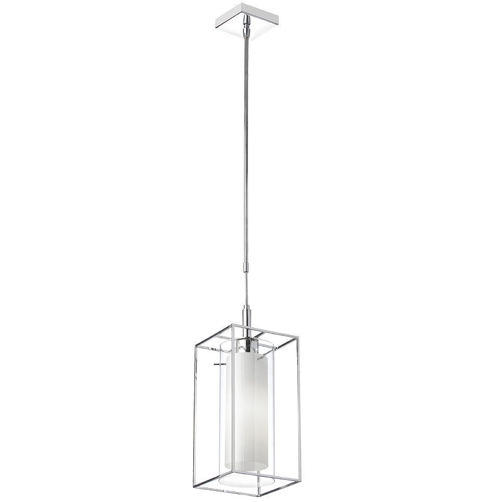 Dainolite Luminaire suspendu à 1 lampe, verre givré à l'intérieur, cadre en métal rectangulaire