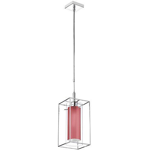 Luminaire suspendu à 1 lampe, verre transparent avec abat-jour en tissu rouge, cadre en métal