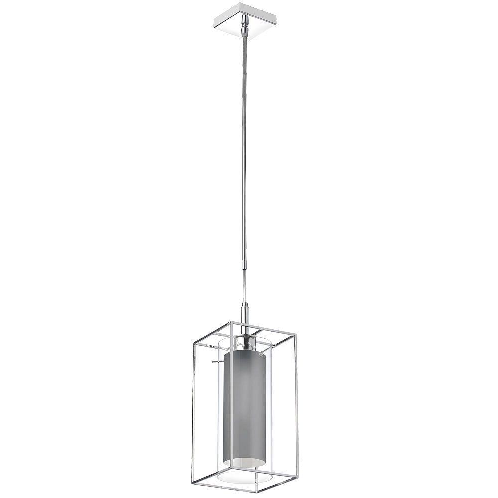 Dainolite Luminaire suspendu à 1 lampe, verre transparent avec abat-jour en tissu gris, cadre en métal