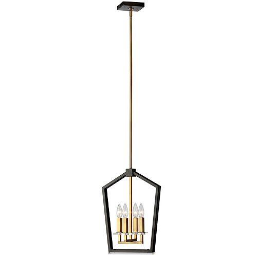 Lustre à 4 lumières, fini noir et bronze antique
