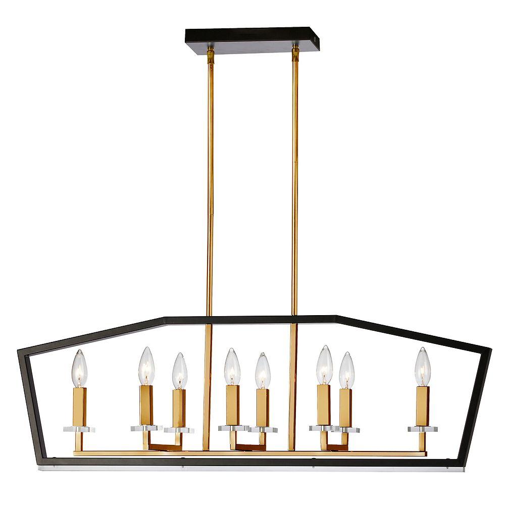 Dainolite Lustre horizontal à 8 ampoules au fini noir et bronze antique
