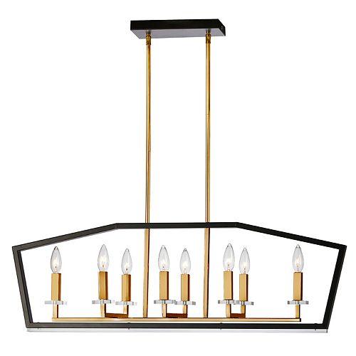 Lustre horizontal à 8 ampoules au fini noir et bronze antique