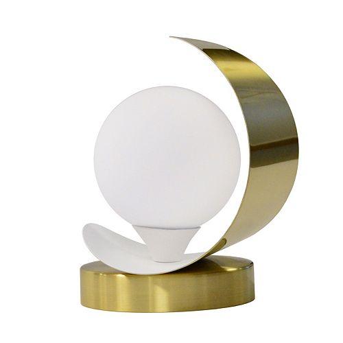 Lampe de table à 1 lumière à incandescence, laiton vieilli et fini blanc mat