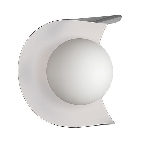 1 Light Incandescent Wall Sconce Satin Chrome and Matte White Finish