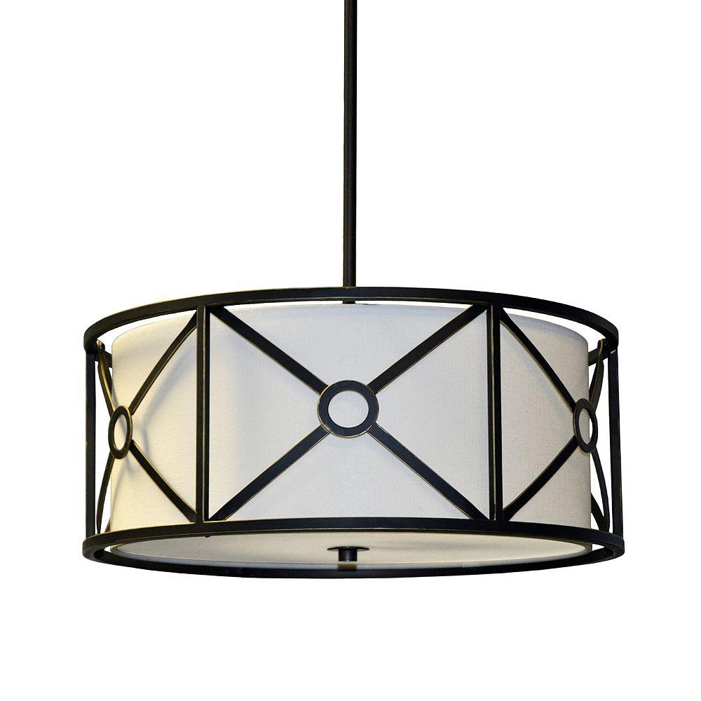 Dainolite Luminaire suspendu à 3 ampoules en acier et tissu, bronze huilé d'époque, abat-jour en ivoire