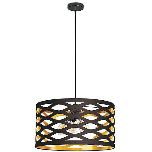 Luminaire suspendu à 4 ampoules, noir mat, abat-jour découpé, noir sur or