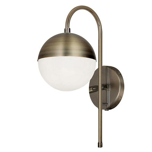 1 Light Halogen Sconce, Antique Brass with White Glass, Hardwire and Plug-In