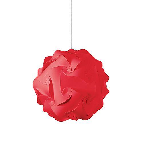 Luminaire suspendu à 1 ampoule au fini chrome poli tissu rouge