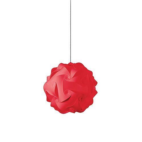 Luminaire suspendu à 1 ampoule au fini chrome poli, tissu rouge