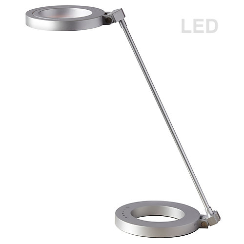 Compact LED Desk Lamp, with Dimmable Switch & Night Light Texture, Silver finish