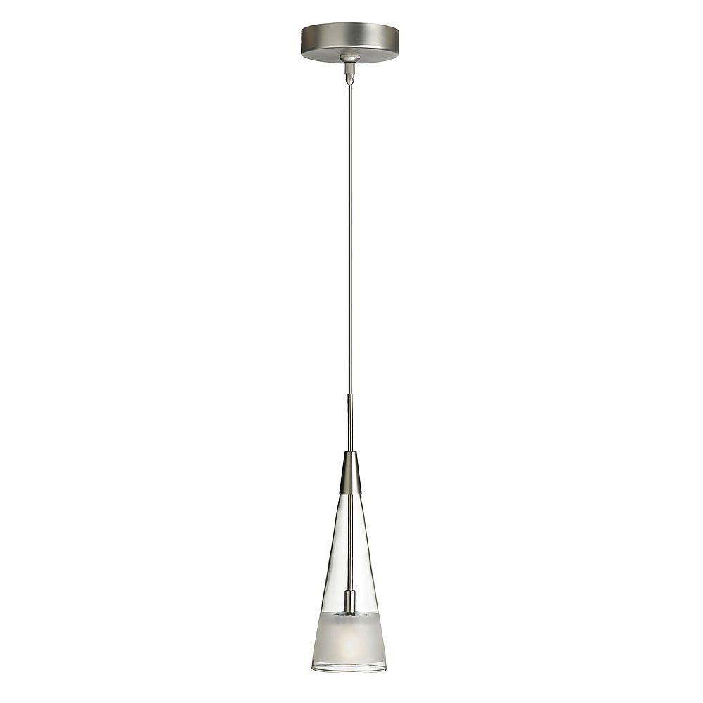 Dainolite Luminaire suspendu à 1 lampe, chrome satiné, verre dépoli clair, basse tension
