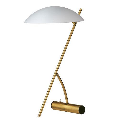 Lampe de table à 1 lumière à incandescence au fini laiton antique avec verre dépoli