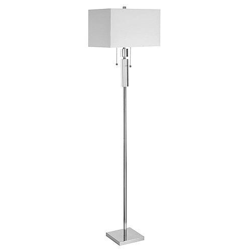 Lampadaire en cristal, chrome poli, abat-jour rectangulaire en lin blanc