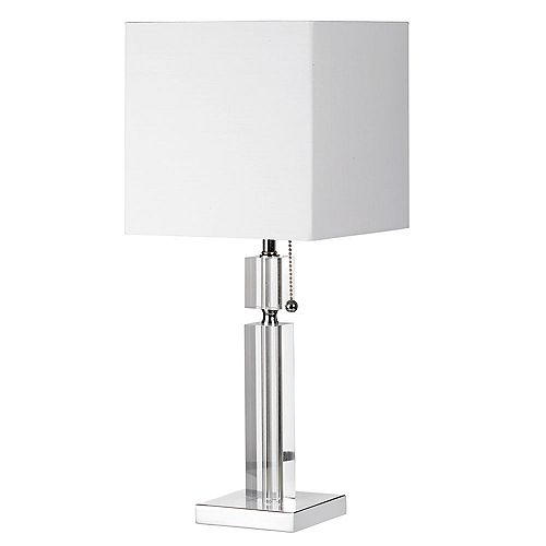 Lampe de table en cristal, chrome poli, abat-jour en lin blanc carré