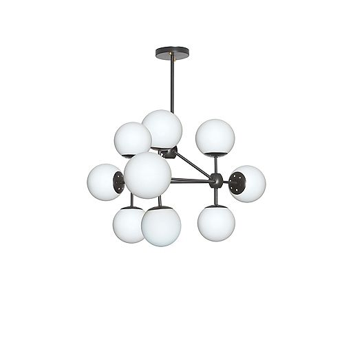 9-Light Black Chandelier Light Fixture with White Glass
