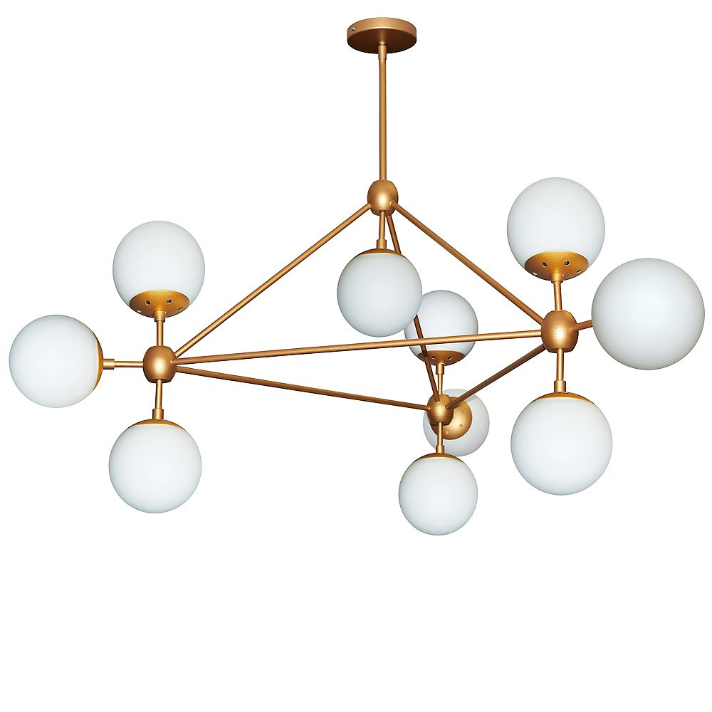 Dainolite Lustre triangulaire à 10 ampoules, fini or, verre blanc