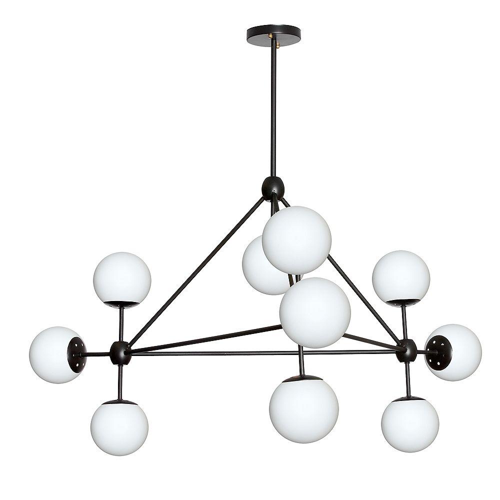 Dainolite Lustre à 10 ampoules, fini noir, verre blanc