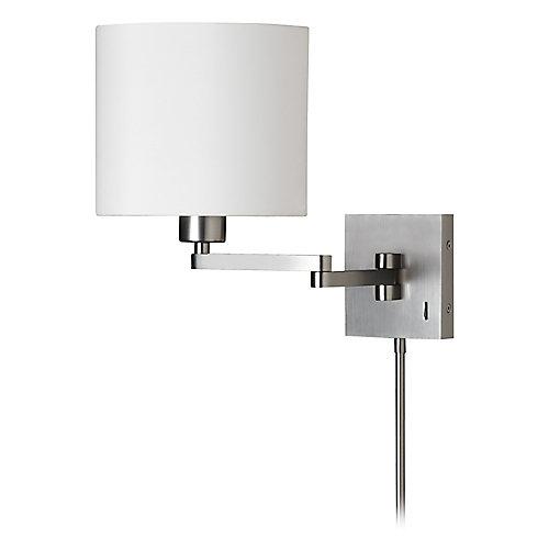 1 Light Cast Metal Swing Arm Lamp Satin Chrome White Drum Shade 790