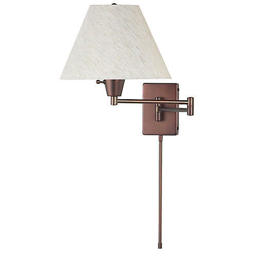 Swing Arm Wall Lamp, Oil Brushed Bronze, Flax Linen Empire Shade