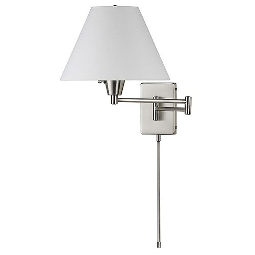 Swing Arm Wall Lamp, Satin Chrome, White Linen Empire Shade 195F
