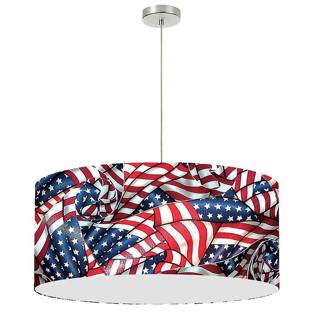 Dainolite Pendentif pour abat-jour à tambour à 1 lumière, 28 po, sans diffuseur, drapeau américain