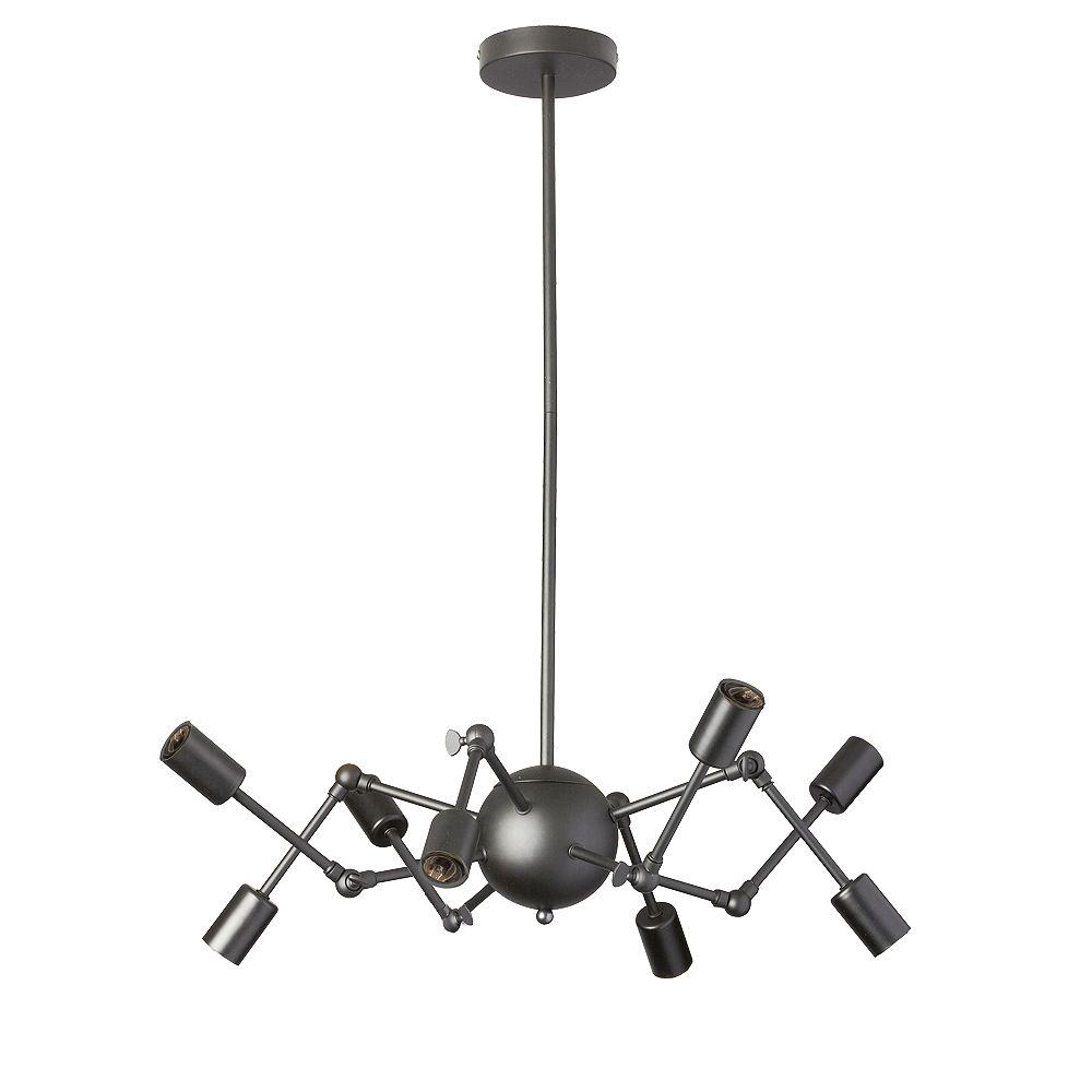 Dainolite Lustre à 8 ampoules et bras réglables, finition noir mat