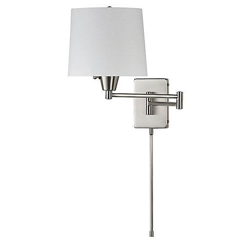 Swing Arm Wall Lamp, Satin Chrome, White Linen Shade 195F