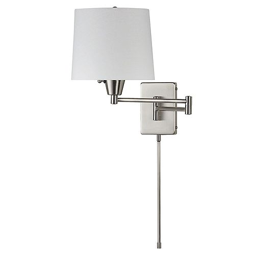 Swing Arm Wall Lamp, Satin Chrome, White Linen Shade 195F