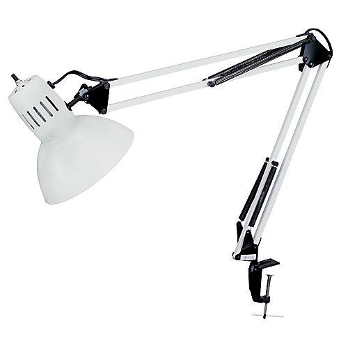 Spring Balanced Clamp-On Lamp, Gloss White, 36 inch Reach