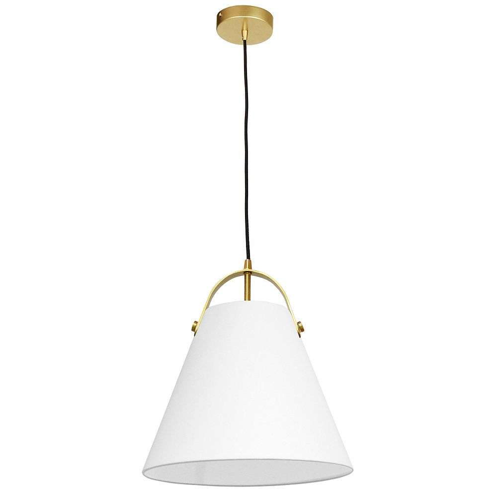 Dainolite Luminaire suspendu à 1 lumière, laiton vieilli et abat-jour blanc
