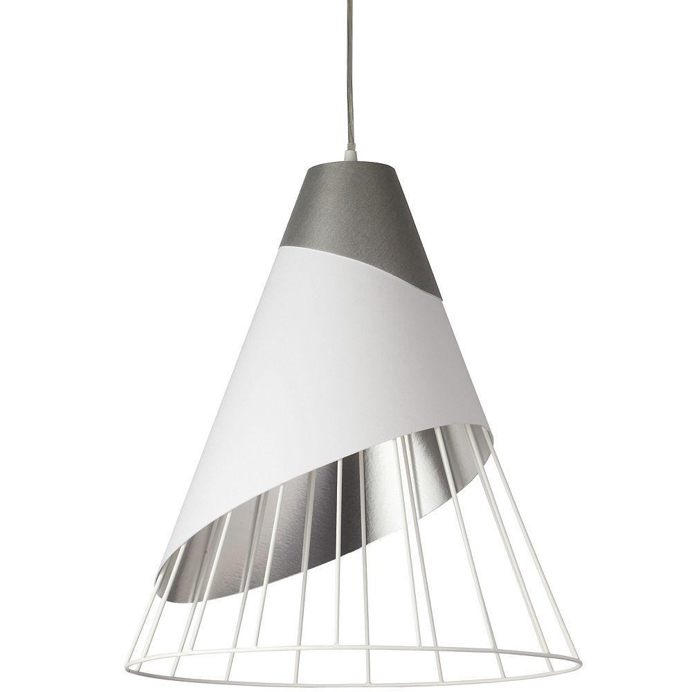 Dainolite Luminaire suspendu à 1 ampoule avec capuchon en tissu d'acier et abat-jour relié blanc sur argent