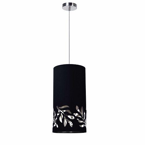 Luminaire suspendu à 1 ampoule Flora JTone, abat-jour noir et argent, chrome poli