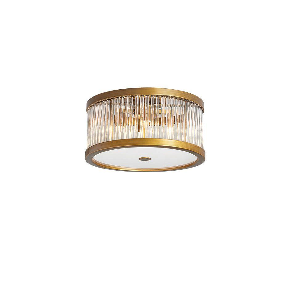 Dainolite Plafonnier à 4 ampoules avec baguettes en cristal, fini bronze antique