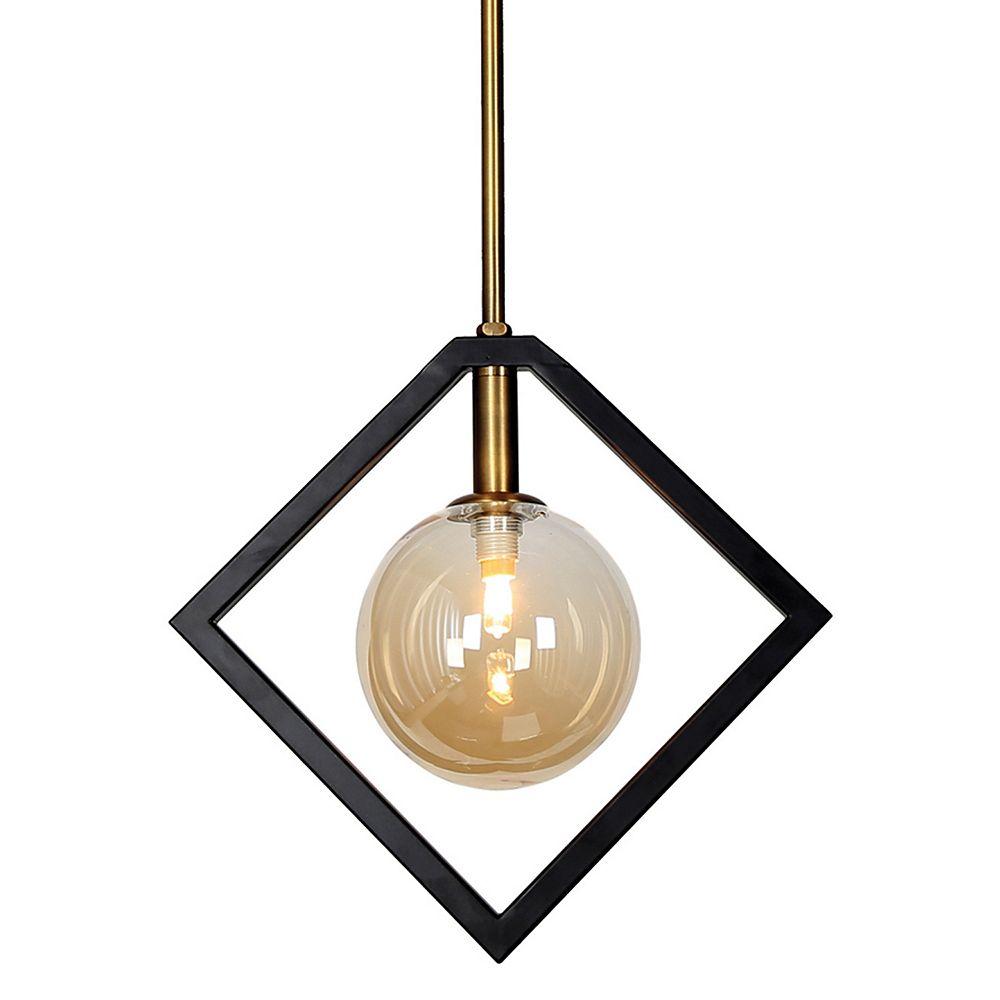 Dainolite Luminaire suspendu à 1 lumière, fini noir mat et bronze vintage, verre à Champagne