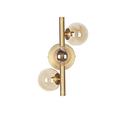 3 Light Halogen Wall Sconce Vintage Bronze Finish with Champagne Glass