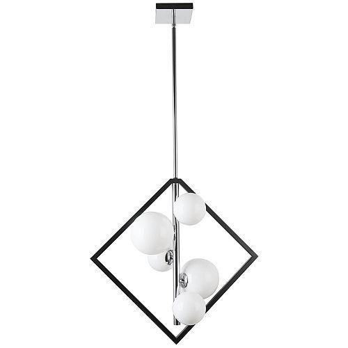 Luminaire suspendu à 5 lampes, noir mat et chrome poli